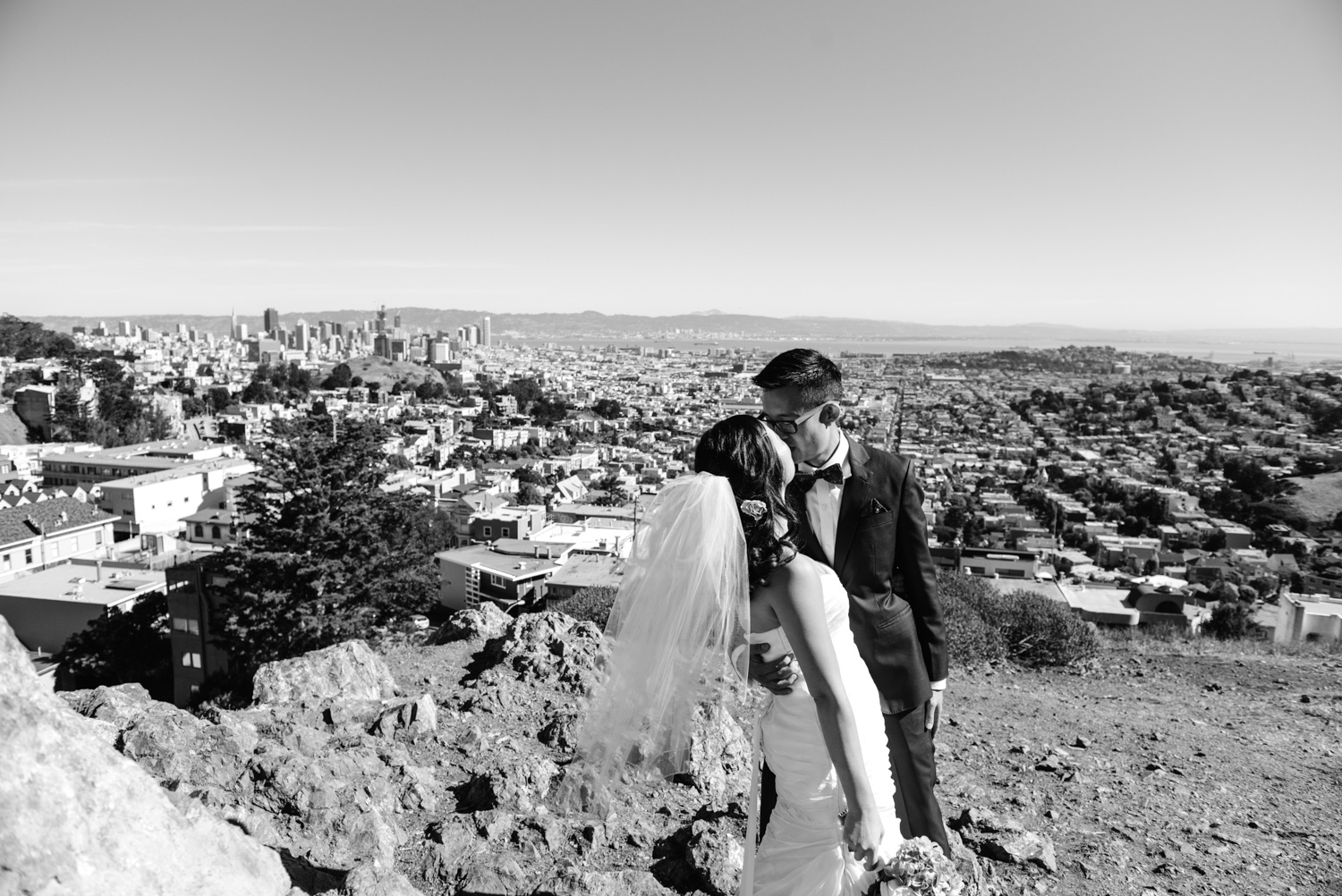 bride and groom view of San Francisco