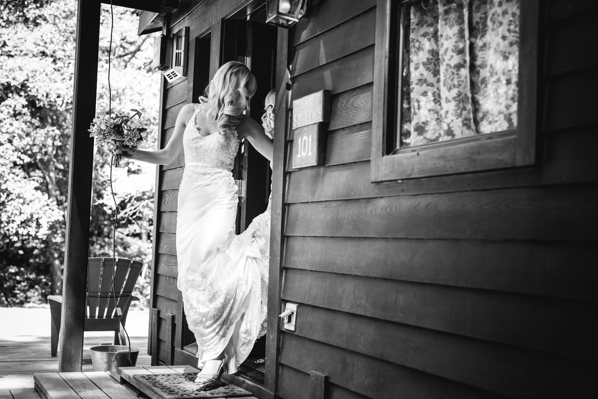 bride going to her elopement in big sur