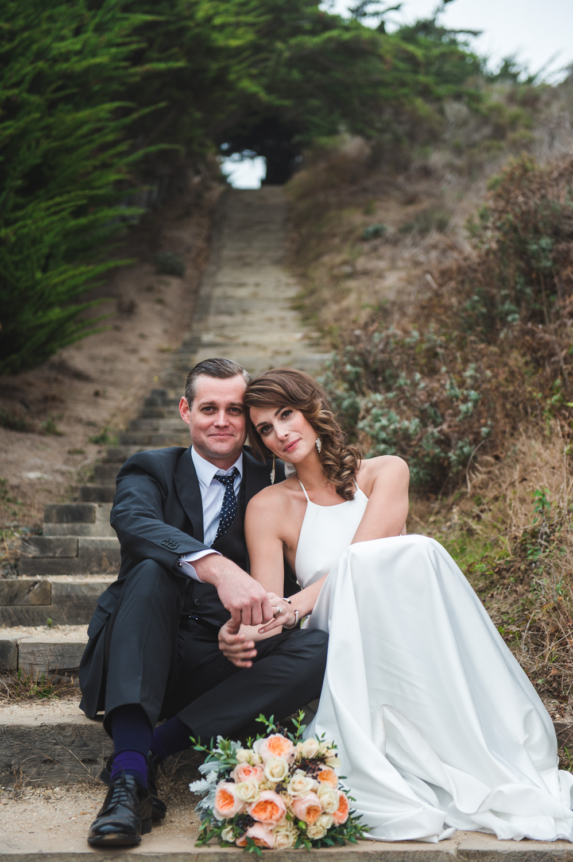 bride and groom at big sur elopement