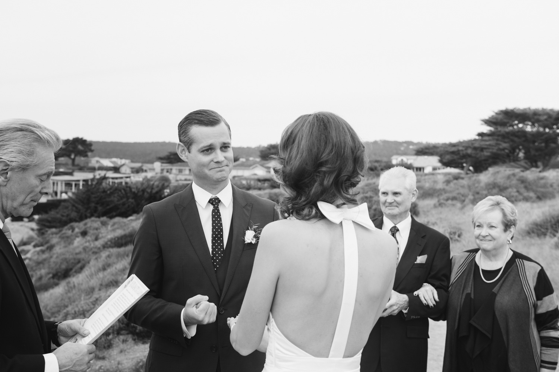 groom looking emotional during minimony