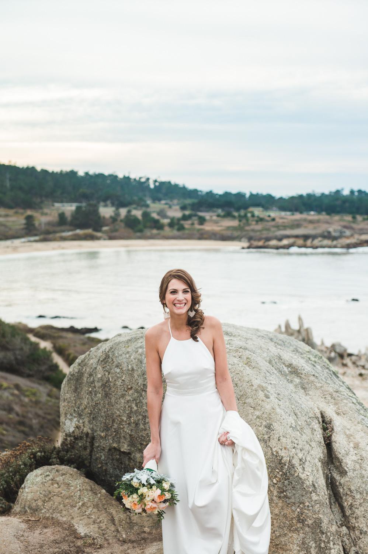 bride on big sur coastline