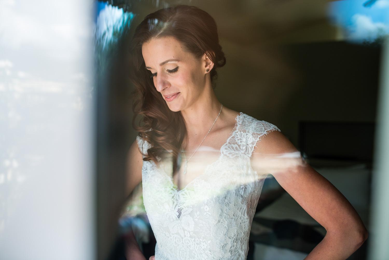 bride getting ready at mini wedding