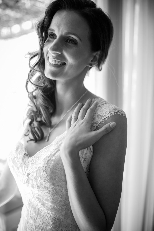 bride laughing in wedding dress