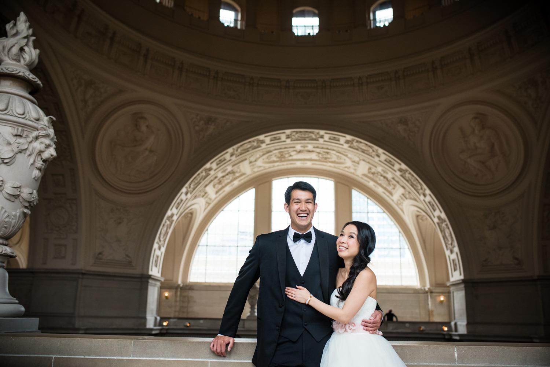 bride and groom at at San Francisco city hall