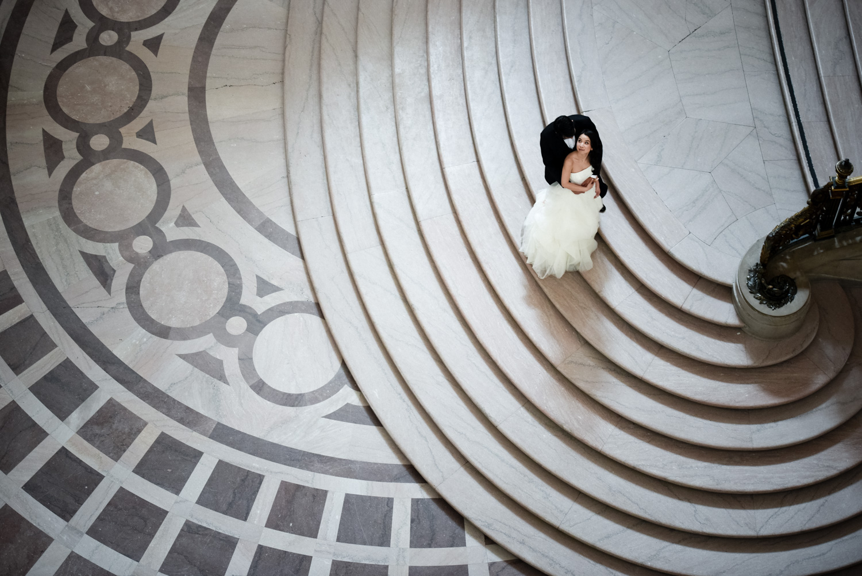 bride and groom at San Francisco city hall
