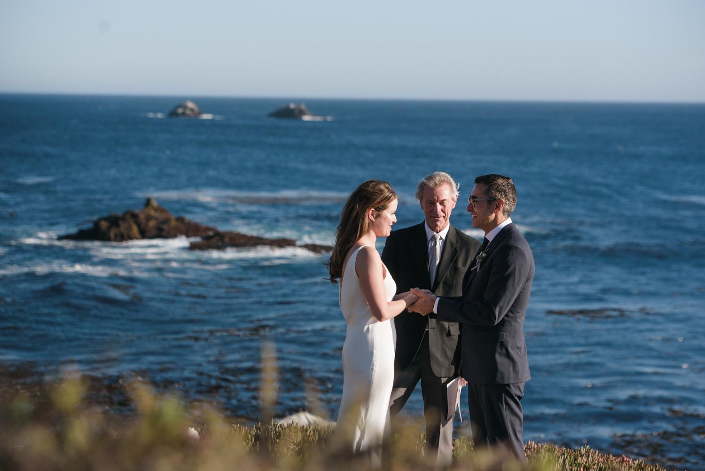 bride and groom on big sur cliffside